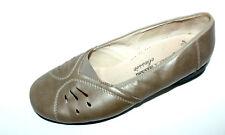 LADYSKO Leder Ballerinas gold Leder Slipper 41 UK 7,5 Halb Schuhe Luftpolster