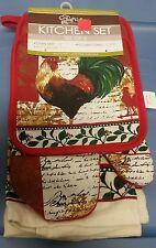 5 pc KITCHEN SET: 2 POT HOLDERS,1 OVEN MITT, 2 TOWELS, ROOSTER & LEAVES by CV