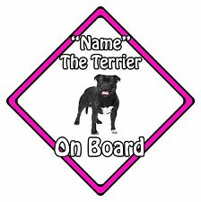 Personalised Dog On Board Car Safety Sign - Bull Terrier On Board Pink
