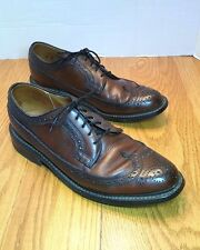 Knapp Vtg Mens Dress Shoes 7B NARROW Brown Punched Leather Wingtip Oxfords USA