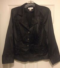 CJ Banks Black Long Sleeved Jacket Ruffle Detail Buttons 3% Spandex Gothic Sz 14