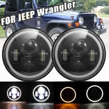 "DOT 7"" 96W OSRAM LED Headlight Hi-Lo Halo Signal DRL For Jeep Wrangler JK TJ CJ"