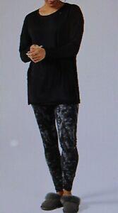 Black Carole Hochman Solid Tunic with Printed Legging Pyjama Set - Small - new