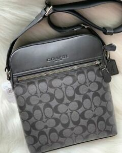 Coach mens Houston Signature logo Flight Bag Charcoal PVC+Leather+antique nickel