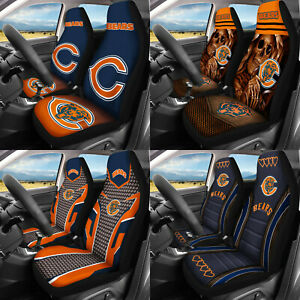 Chicago Bears 2PCS Car Pickup Front Seat Covers Universal Fit Cushion Protectors