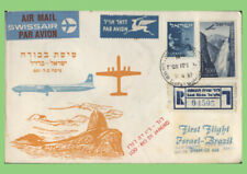 Israel 1957 Swissair reg First Flight cover, Israel to Brazil