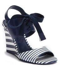 d8bb134e3edda5  295 Tory Burch Womens Maritime Leather Stripe Wedge Heels Sandal Size 6