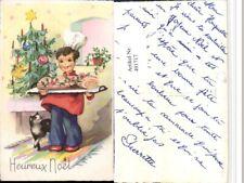 491717,Künstler AK Heureux Noel Weihnachten Koch Essen Katze Baum