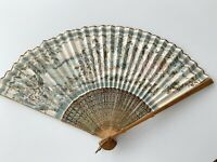 Vintage Traditional Asian Folding Hand Fan Wood Bamboo Hand Painted