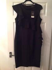 Next Black Peplum Frill Detail Dress Size 14 New With Tags