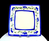 "STUDIO ART POTTERY ARTIST SIGNED WHEEL-THROWN BLUE FLORAL 11 3/4"" SQUARE PLATTER"