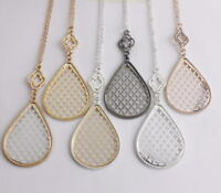 Teardrop Filigree Pendant Long Necklace and Earrings Boutique Jewelry for Girls