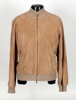 $5995 NWT - BRUNELLO CUCINELLI SUEDE LEATHER / CASHMERE / SILK Jacket - Tan L XL