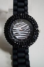 Geneva Black Zebra Women's Rhinestone-accented Silicone Fashion Watch
