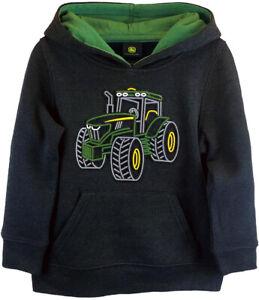 NEW John Deere Boys Black 3D Molded Tractor Hoodie Sweatshirt 4 5 6 7