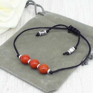 Handmade Natural Red Jasper Gemstone Cord Bracelet & Velvet Pouch. 6/8mm.