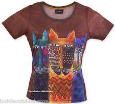Laurel Burch Cats Long Neck Felines T Shirt Short Sleeve Polyester Brown New XL