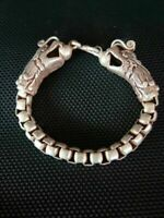 Collectible Chinese Tibet Silver Bangle Handwork Auspicious Dragon Bracelet