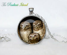 owl necklace White owl photo Tibet silver Cabochon glass pendant chain Necklace