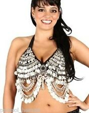 TRIBAL SILVER COIN BRA BELLY DANCE, D, DD cup. made India. Mirror Medallion New!