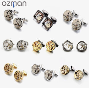 Men High Quality Watch Movement Cuff links Silver Gold Black Triangle