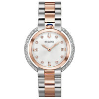 Bulova Quartz Women's Rubaiyat Diamond Accents Bracelet 35mm Watch 98R247