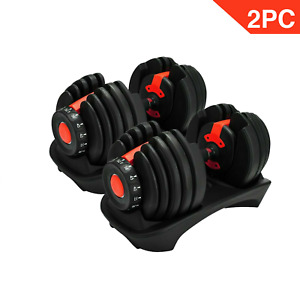 2pcs Weight Adjustable Dumbbells For Fitness Workouts Home Gym 52.5lbsc