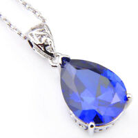 Elegant Jewelry Gift Pear Shaped Swiss Blue Topaz Gems Silver Necklace Pendants