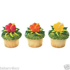 12 PARTY CAKE HIBISCUS FLOWER BEACH SUMMER FUN HAWAIIAN CUPCAKE RINGS