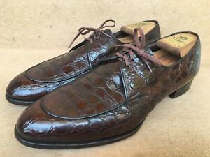 Vintage Florsheim Imperial Brown Alligator Split Toe Derby Size 35603 Sz US 11C