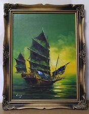 "Junk Boat 24"" x 18"" Signed Wong Oil Painting Chinese"