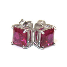 Ruby Princess Cut 2.5ct Diamond-Unique Studs Sterling Silver