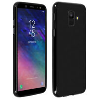 Silicone case, Glossy & matte back cover for Samsung Galaxy A6 – Black