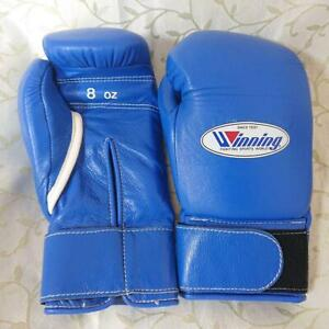 Winning 8 oz. Boxing Gloves MS-200B  Blue Good Condition Hook and Loop Fastener