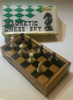 """Vtg Black & Gold Chess/Checkers Portable Magnetic Foldable Set Complete 8 X 7.5"""""""