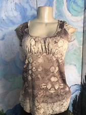 CALVIN KLEIN JEANS L BEIGE MIX ABSTRACT BABY DOLL  NYLON LINED CAP SLEEVE TOP