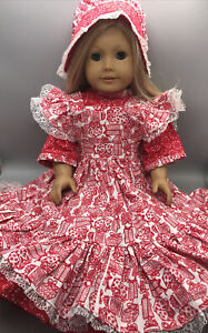 """Handmade doll Outfit fits 18"""" Doll American Girl 3 Pcs Dress Hat +"""