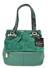 BRAND NEW B. MAKOWSKY HAND BAG COLLINS  TOTE SUPPLE SUEDE/LEATHER, EMERALD