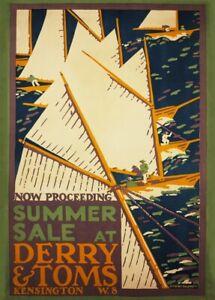 Summer Sales at Derry & Toms, 1919, Edward McKnight Kauffer Art Deco Poster