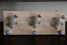 NEW Balinese Handmade Wall Hung 3 Peg Turtle Hanger  -  Balinese Nautical Range