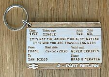 Personalised Train Ticket Wedding Anniversary Our Journey Present Keyring Gift