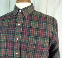 Polo Ralph Lauren M Elliott 100% Cotton Tartan Plaid Red Green Button Up Shirt