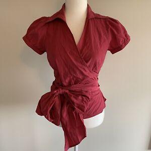 Zara V Neck Belt Tie Waist Bow Wrap Short Sleeve Top Blouse Plum Size L EC