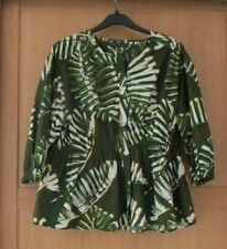 Ladies M&S Collection Green Mix Cotton 3/4 Sleeve Decorative Top Size 18