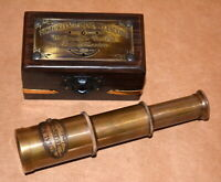 """Antique vintage maritime brass 6"""" telescope marine spyglass with wooden box gift"""
