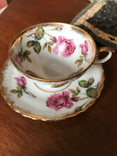 Vintage China Cup & Saucer Set, Roses with Gold Trim