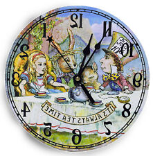 Tea Party clock, Alice in Wonderland decor, reverse mechanism, made in U.S.A.
