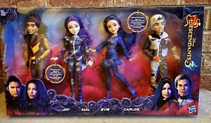 Disney Descendants Isle of the Lost Collection 4 Pack of Dolls Carlos Evie New