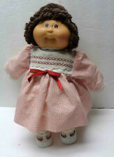 """1984 Cabbage Patch Dolls 15"""" Brown Haired Girl with Red & White Dress!"""