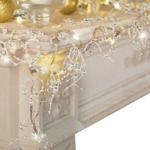 Led Pearl Beaded String Light Christmas Garland Party Xmas Wedding Lights